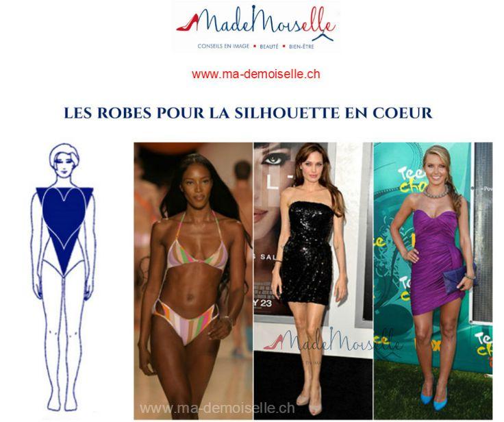 Les Robes (soirée) pour la silhouette en coeur   #MademoiselleSchick_Robe_Silhouette_en_Coeur (archives) http://www.ma-demoiselle.ch/ Les filles, je vous propose un nouveau post sur la silhouette en coeur (triangle renversé ou V) tous ces noms veulent dire la même chose, c'est-à-dire on parle d'une silhouette sportive. Dans cet exemple on voit les modèles qu'ont les épaules plus larges que les hanches, les jambes galbées et svèltes. Les sportives peuvent être grandes ou petites, fines ou…