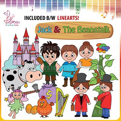 Jack and the Beanstalk Clipart by Ringa Dinga Design