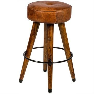 Infinity Solid Timber Bar Stool with Upholstered Leather Seat