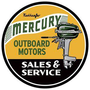 Open Road Brands Mercury Outboard Motors Die-Cut Embossed Tin Sign