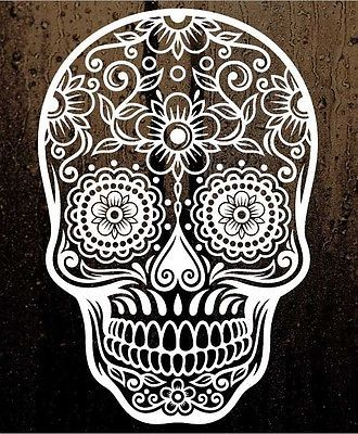 6-Sugar-Skull-Day-of-The-Dead-Die-Cut-Vinyl-Decal-Sticker-Choose-Color-101