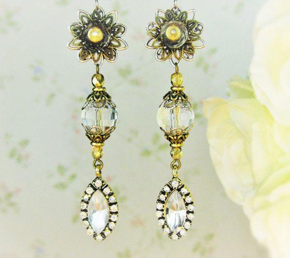 Длинные свадебные золотые стразы серьги Бронза Серебро свадебный невесты серьги цветок серьги болтаться серьги кристалла, приводят долго никеля