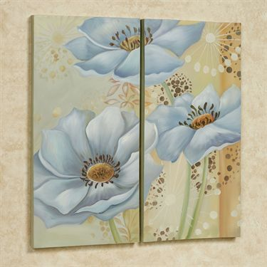 Whispering Blues Floral Canvas Wall Art Set