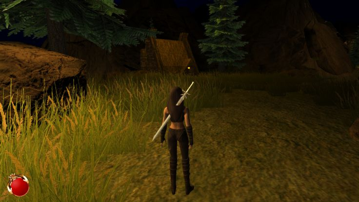 A very early screenshot of the Ruined Village level of the Drakan remake in the Unity engine.