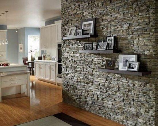 sala piedra decoración contraste con con textura pared decorada muros