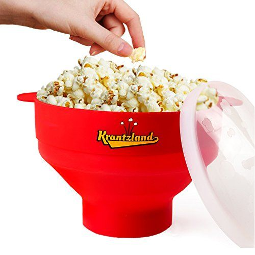 2 IN 1 Air Popcorn Popper/ Popcorn Maker – Collapsible Bowl from a height of 5.7″ to 2.1″ – Microwave Popcorn Popper- Premium Silicone
