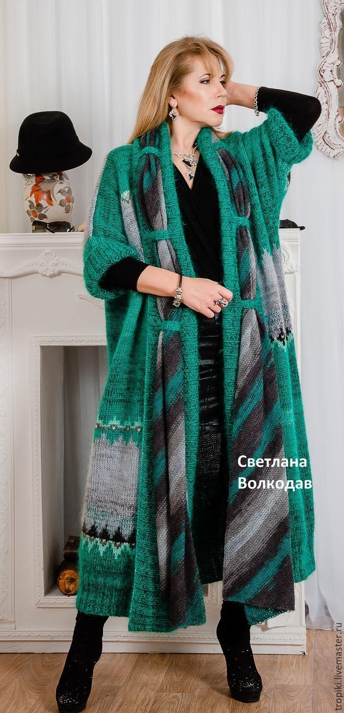 """Купить Пальто вязаное авторское """" Крымское море"""" - зеленый, изумрудный, пальто женское"""