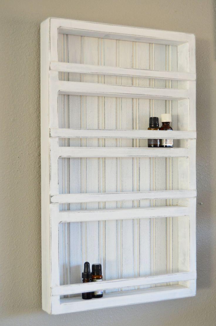 Vintage White Wood Essential Oil Display Rack 4 Shelves