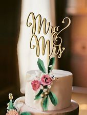 """Mr and Mrs Cake Topper (ONE) 6"""" Laser Cut Wood Wedding Cake Topper Gold - Silver"""