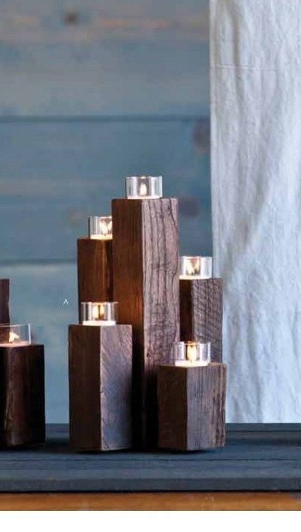 Chinese Elm Staggered 5-PIllar Tealight Candle Holder / Centerpiece via Etsy ...  I'm thinking really tall on staggered 4x4
