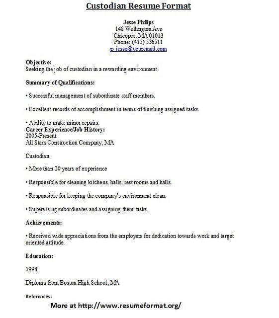 Custodian Resume Template - http://resumesdesign.com/custodian-resume-template/