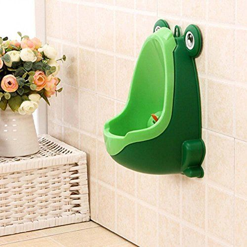 Frog Children Potty Toilet Training Kid Urinal for Boy Pee Trainer Bathroom Green. Environmentally friendly material, nontoxic and no peculiar smell . Frog shape and rotating windmill improves your babies' interest. Strong sucker can adjust the height of the item according to baby. Large capacity ensure the urine will not overflow. Urine groove separation design and light surface makes the item easy to clean.