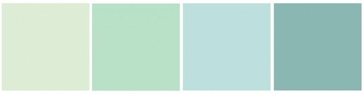 Pantone des couleurs vert d'eau J'aime les 2 premiers et plus particulièrement le 2ème...