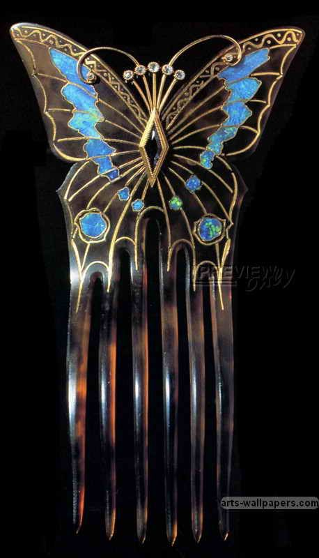 Butterfly comb designed by Alphonse Mucha and made by Georges Fouquet, 1901. Gold and opals