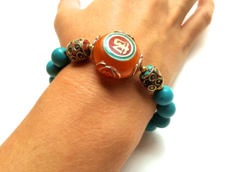 Stylish bracelet | Turquoise and Unique Tibetan gemstone | One of a Kind | Jewelry | Fashion | Accessories | Blue | Orange