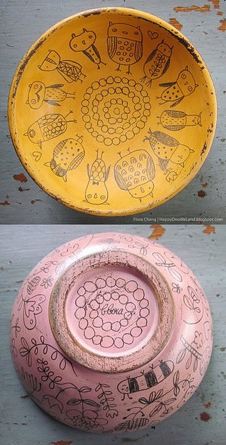 Flora Chang wooden doodle bowl. Photo taken November 26, 2011. Happy Doodle Land's flickr photostream