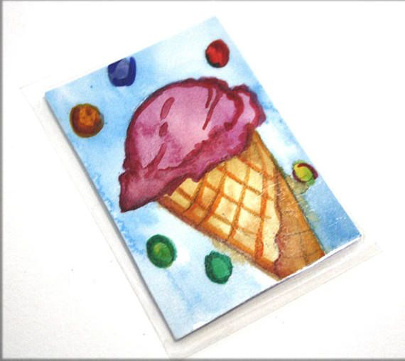 Ice Cream Magnet Summer Food Sweets Watercolor Magnet Ice