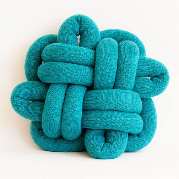 good luck notknot pillow in turquoise by umemi on etsy