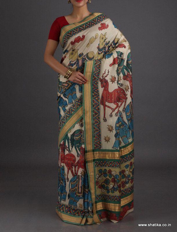Reena Animal Figurine High-Class Naturally Dyed Hand-Painted #KalamkariPureSilkSaree
