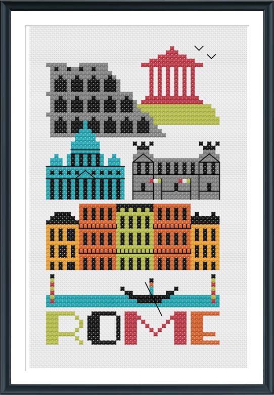 Rome Italy Cross Stitch Pattern Instant Download