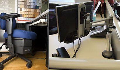 Una silla ondulante, un ratón que vibra, un monitor suspendido sobre un escritorio en un brazo móvil. Estos son algunos de los tipos de novedosos productos ergonómicos que Alan Hedge, una autoridad internacional en ergonomía de oficina y profesor de diseño y análisis ambiental en la Universidad de Cornell, estudia para determinar si pueden prevenir los daños provocados por los movimientos repetitivos en las personas que usan ordenadores de manera habitual. (Enllave 13/02/2008)