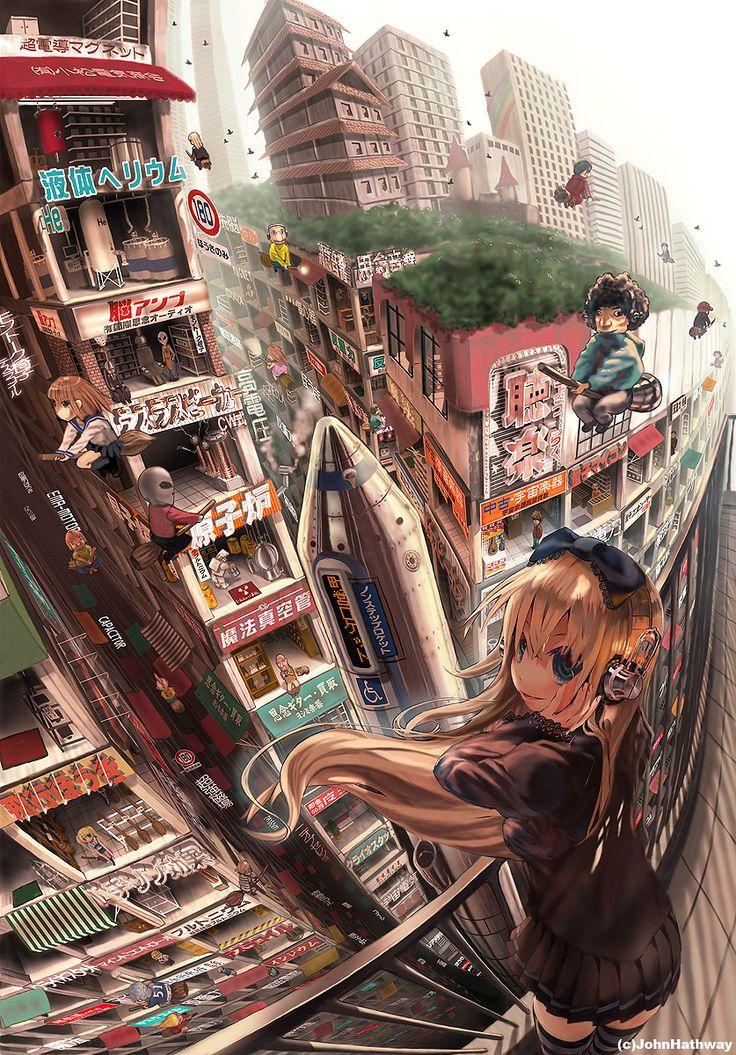 """Taito-ku Brain Music Street"" original illustration by JohnHathway #John Hathway #anime"