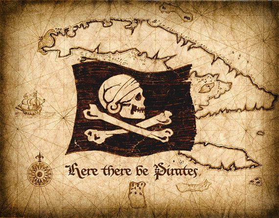 Hey, I found this really awesome Etsy listing at http://www.etsy.com/listing/175328465/here-there-be-pirates-map-art