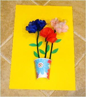 Pre-school + Older: 3-D Flowers. Please visit the website. It has GREAT projects !!!! http://squishideasforpreschool.blogspot.com/2012/03/flower-crafts.html