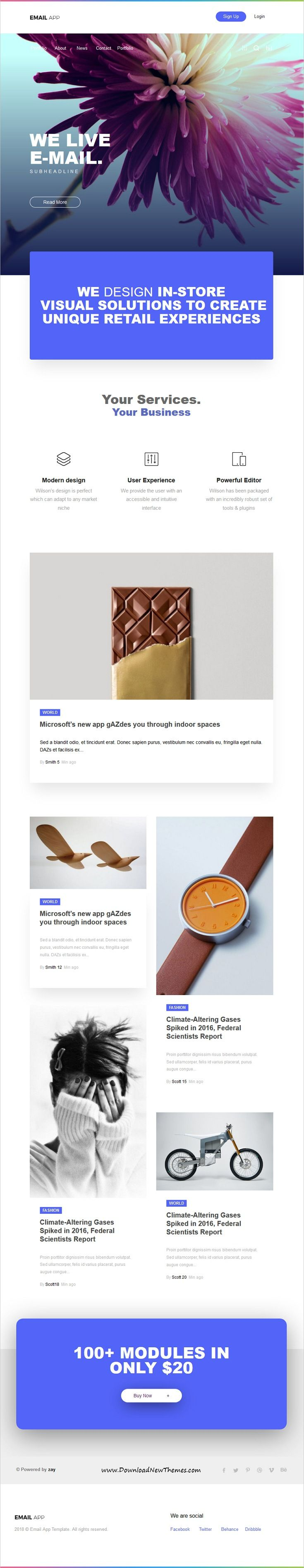 Email App is clean and modern minimal design 5in1 responsive #email #newsletter template for viral marketing with 200+ #modules to live preview & download click on image or Visit  #emailnewsletter