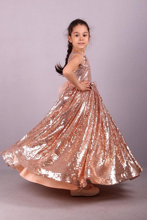 0c016fd86bef Golden rose sequins flower girls Dress- Sequins Dress- Pink Lace dress-  First Comunion dress- Brides