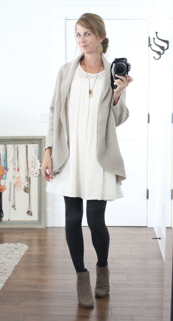grey booties + black tights + white dress + grey cardigan + long pendant