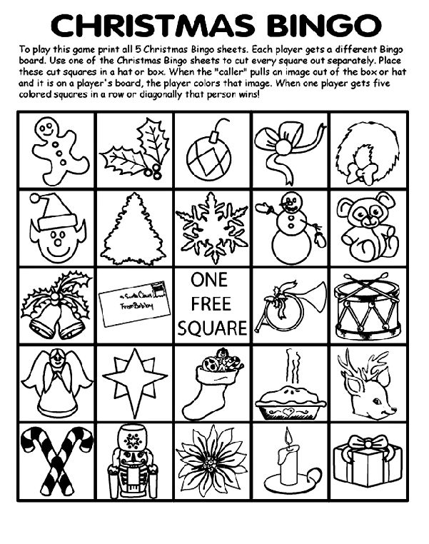 "<b>To Play Christmas Bingo:</b>  1. Print all 5 Christmas Bingo pages. Each player gets a different bingo board.   2. Use one of the Christmas Bingo pages to cut every square out separately.  3. Place the squares in a hat or box.  4. When the ""caller"" pulls an image out of the box or hat and it is on a player's board, the player colors that image.   5. When one player gets five colored squares in a row, or diagonally that person wins!"
