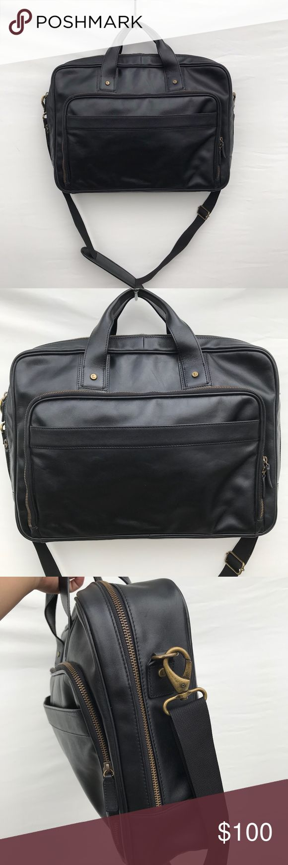 Levenger Unisex Black Leather Briefcase #S24B Gent…