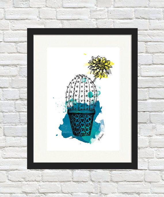 Cactus Flower Pot Colour Print by BronwynHoustonArt on Etsy