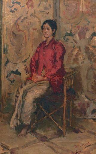 Isaac Israëls - Zittende Javaanse or a Javanese beauty; Medium: oil on canvas