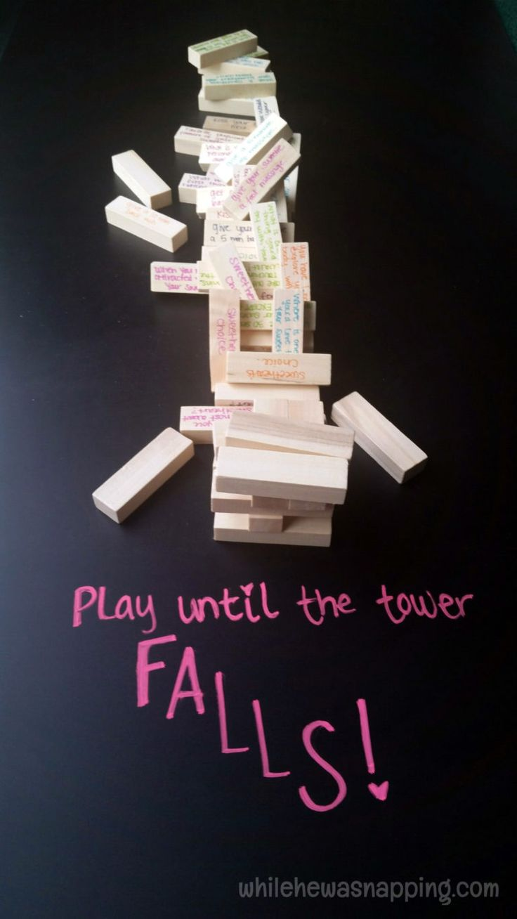 Tower of Love is a DIY Jenga-style game that will heat things up and add a little bit of romance to your game night! Perfect for date night, Valentine's Day, birthday or anniversary.    #datenight #romanticgift #giftforhim #giftforher #bedroomgame #love #athomedate #diy #cheapdatenight #cheapdateideas #dateideas #datenightideas