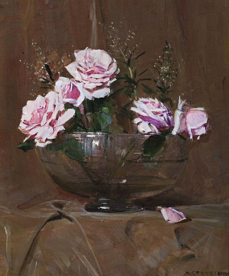 Roses, Sir Arthur Ernest Streeton (1867-1943)  Australian painter best known for his landscapes. He was influenced by the French Impressionists and Turner.