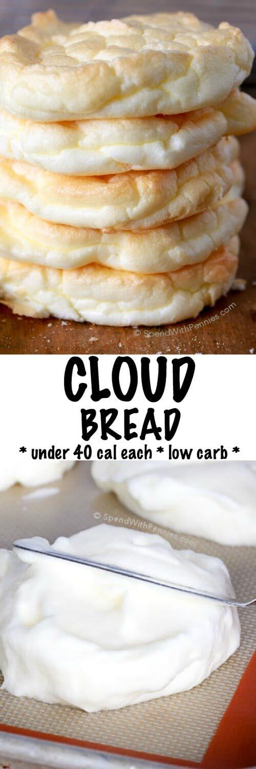 Cloud Bread is an easy to make, light and fluffy bread substitute. These are low carb, under 40 calories each and the perfect way to lighten up a sandwich! Perfect for Weight Watchers and 21 Day Fix a