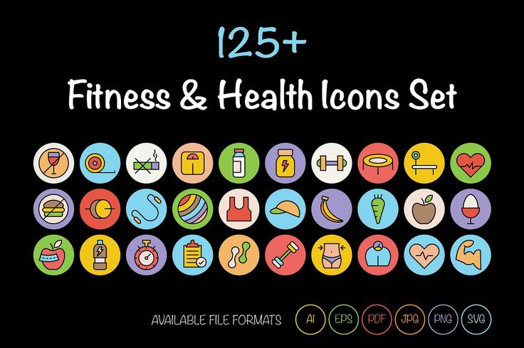 125+ Fitness and Health Icons by Vectors Market on @creativemarket