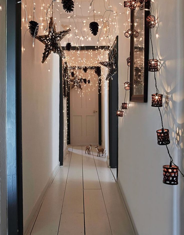 Christmas fairy lights from Ikea, beautiful!  Make it 'snow' down the hallway. Styrofoam packing or cotton balls or ??