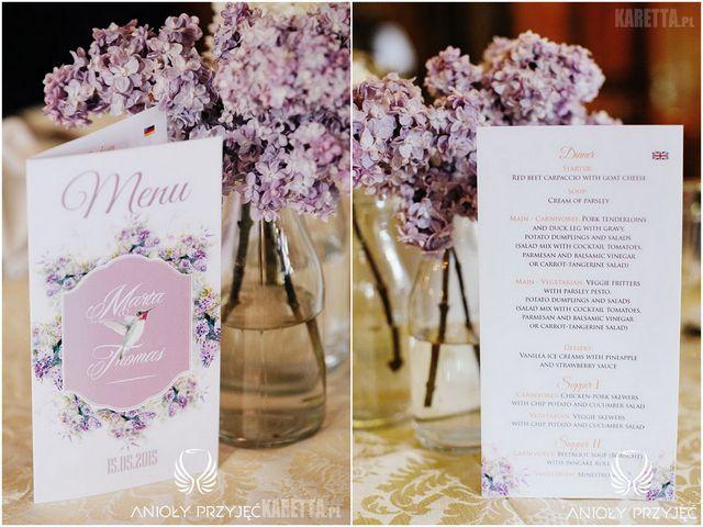 Lilac Wedding,Stationery,Menu card,Humming-bird | Wesele z bzem,Papeteria,Koliber,Anioły Przyjęć