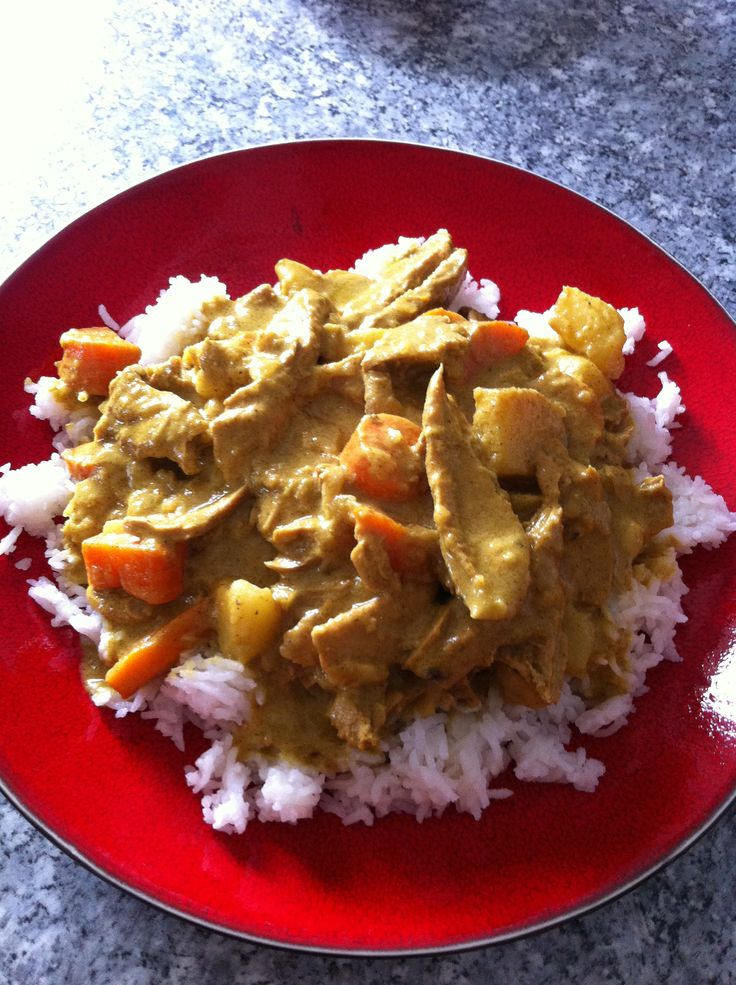 Turkey curry over basamati