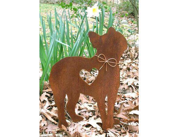Boston Terrier Dog Metal Garden Stake   Metal Yard Art   Metal Garden Art    Pet