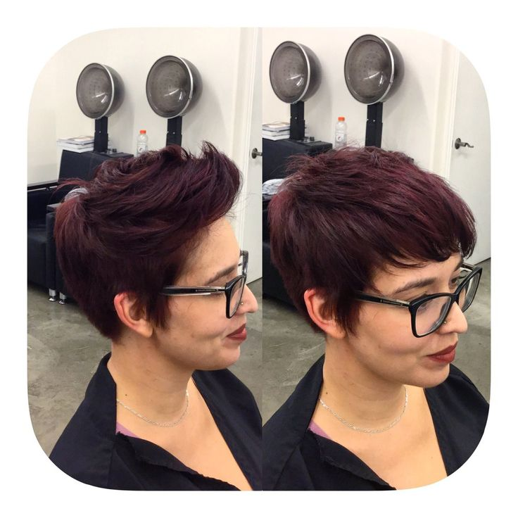 Undercut pixie and beautiful raspberry chocolate color by Elise! IG @hairbyELM