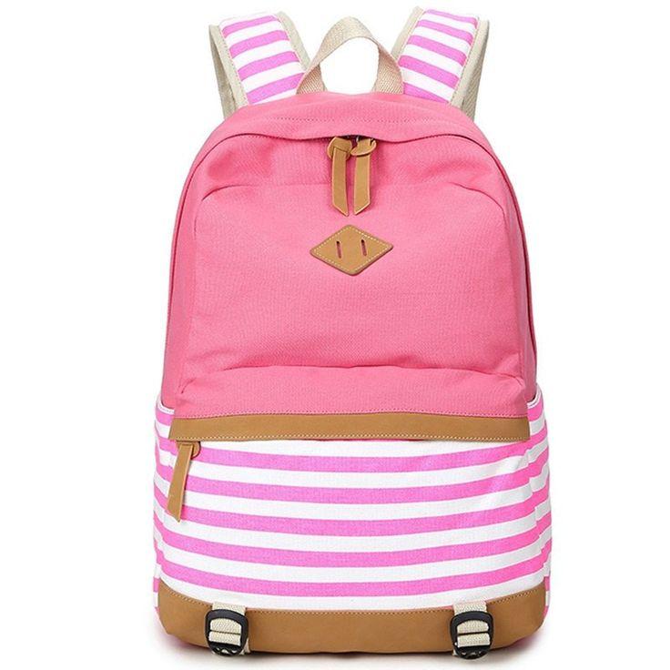 Preppy Stripe Canvas High-Quality Designer Comfortable Backpack 4 Colors