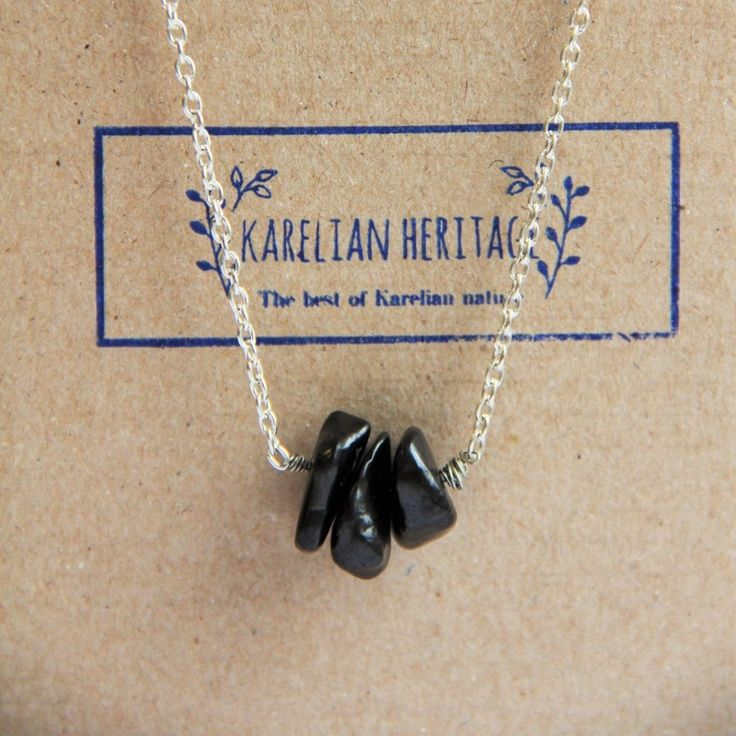 Buy Shungite necklace on a chain with 3 small shungite tumbled beads $11.99