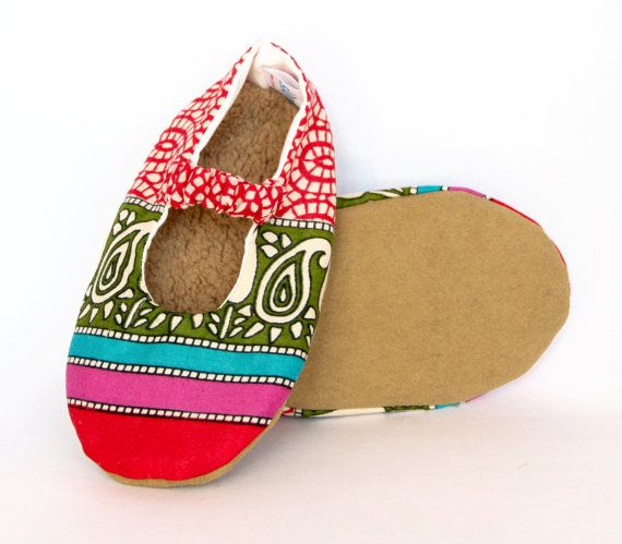 Red Mosaic and Paisley Mary Jane Baby Shoes cotton by SkipsShoes
