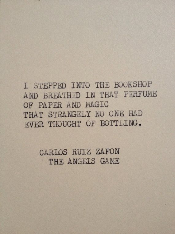 BOOKS HAVE A SMELL!!THE ANGELS GAME Typewriter quote on 5x7 cardstock by WritersWire, $5.00