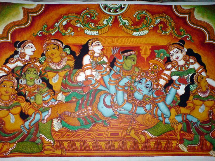 Ananthashyanam, depicted in Kerala's characteristic temple mural style.