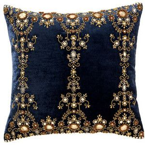 Ankasa Blue Pillow with Gold Discs & Bullion